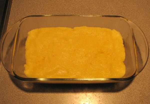 Cornmeal mush in loaf pan