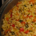 Fresh Sweet Corn with Peppers and Onions