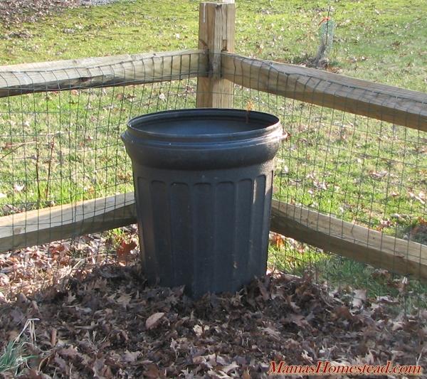 Potato Trash Can in Corner of Garden