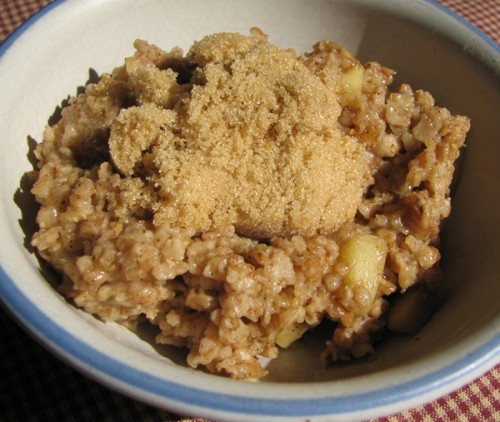 ... or microwaveable packets. Now, we make our own Apple Cinnamon Oatmeal