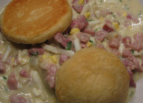 Ham Gravy on Biscuits