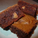 Peanut Butter Cake Brownies with Reese Cup Minis