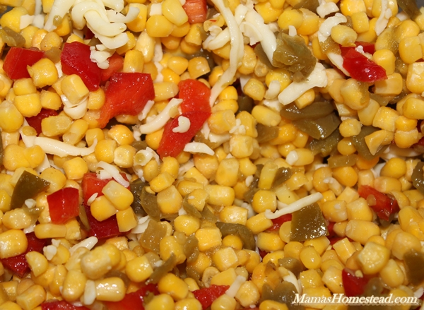 Hot Corn Salsa after mixing